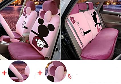 1 Sets The New Plush Cartoon Car Seat Cover Front And Rear Universal Covers