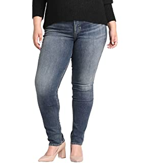5406dd1b Silver Jeans Co. Women's Plus Size Avery Curvy Fit High Rise Slim Leg Jeans