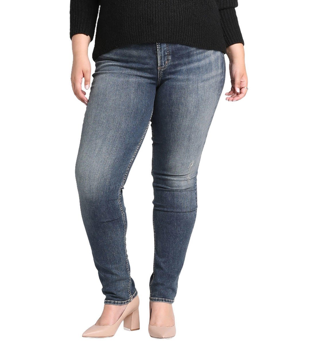 Womens Avery Curvy Fit High Rise Bootcut Jeans with Vent Silver Jeans Co