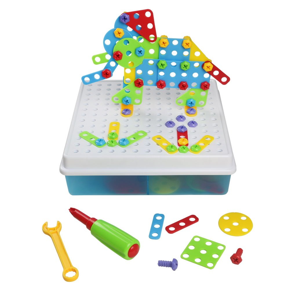 3D Building Blocks Pegboard Game Mosaic Puzzle DIY Construction Toy with Storage Box for Kids, 129 Pcs TLH TOYS TLH-104
