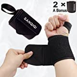 SanQiQi 1 Pair Wrist Wraps 20'' with Thumb Loops, a Bonus-1 Pair Knee Straps, for Powerlifting, Bodybuilding, Cross Training, Weightlifting, Yoga, Support for Men & Women (Black)