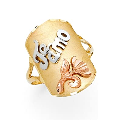 Amazoncom Solid 14k Yellow White Rose Gold Te Amo Tag Ring
