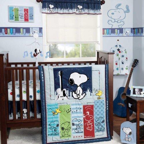 Bedtime Originals Hip Hop Snoopy 3 Piece Crib Bedding Set, Blue, Baby & Kids Zone