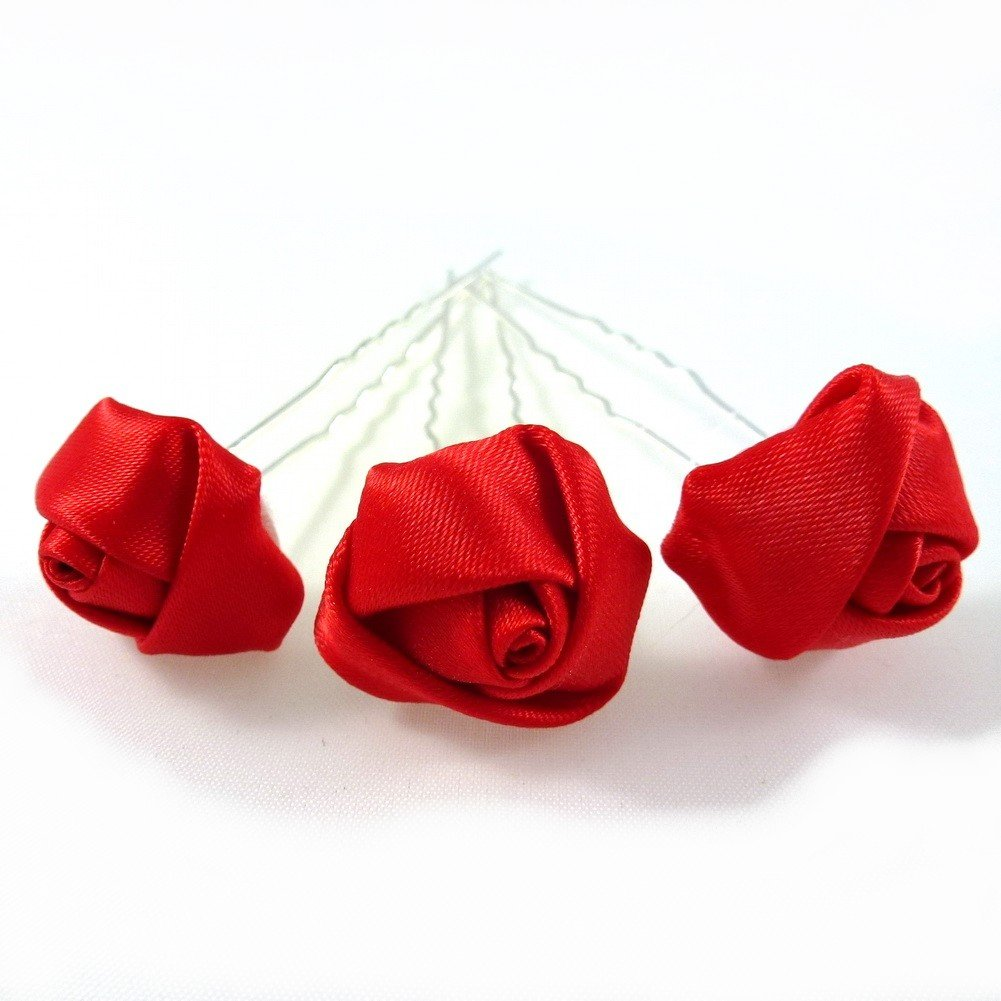 Rougecaramel-Lote de 3 horquillas para el cabello con flor, color rojo (accesorios para el cabello para bodas)
