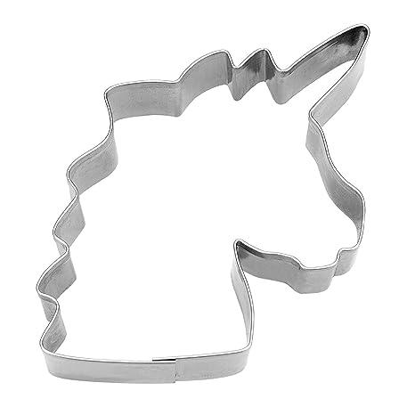 Staedter Unicorn Head molde para galletas, plata, 8 cm