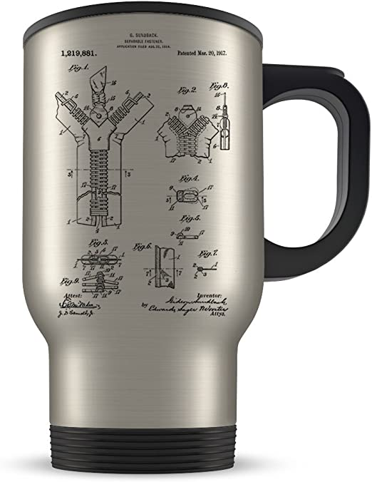 Amazon Com Fashion Designer Travel Mug For Men And Women Seamstress Coffee Cup For Student Graduation Or Workplace Best Couturier Themed Gift Idea Cool Zipper Invention Patent Kitchen Dining