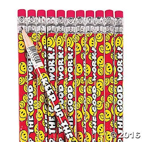 24 Keep Up the Good Work Kids Pencils Goofy Smile Happy Face Emoji Teacher Students Home School