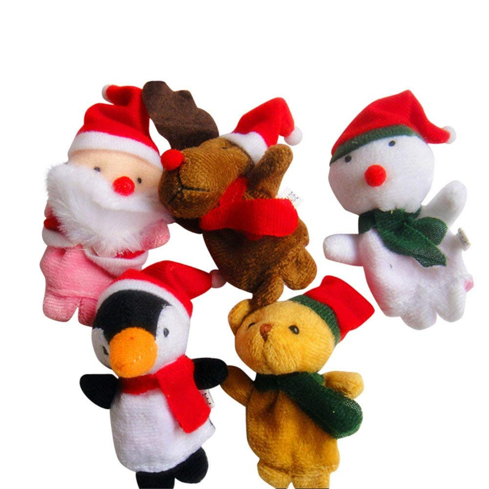 Ogquaton Finger Puppets Pattern Christmas Puppet Set Toys 5pcs Childrens Cloth Doll Toys Practical and Popular