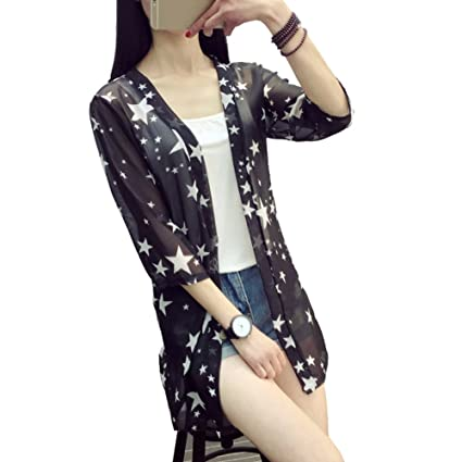 e07473f477 Image Unavailable. Image not available for. Color  Baifeng Blusas Mujer De  Moda 2017 New Women Summer Chiffon Blouse Pinted Casual Kimono Cardigan Long