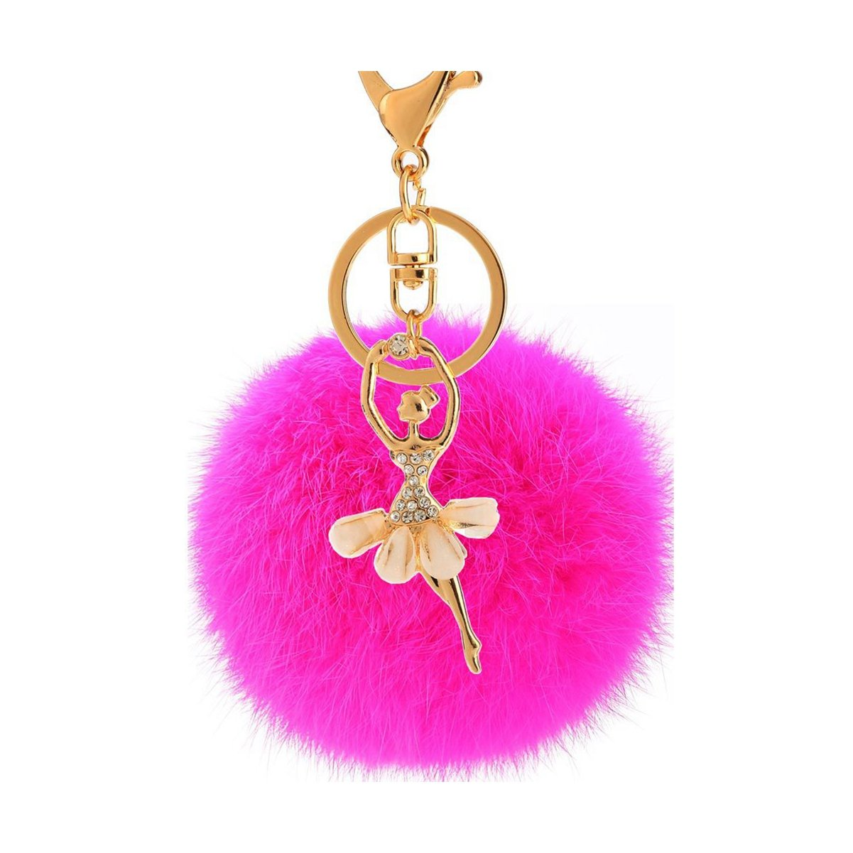 elegantstunning Dancing girl Rabbit Hair Furry Ball Key Chain Decoration DS-20180723-PS-138