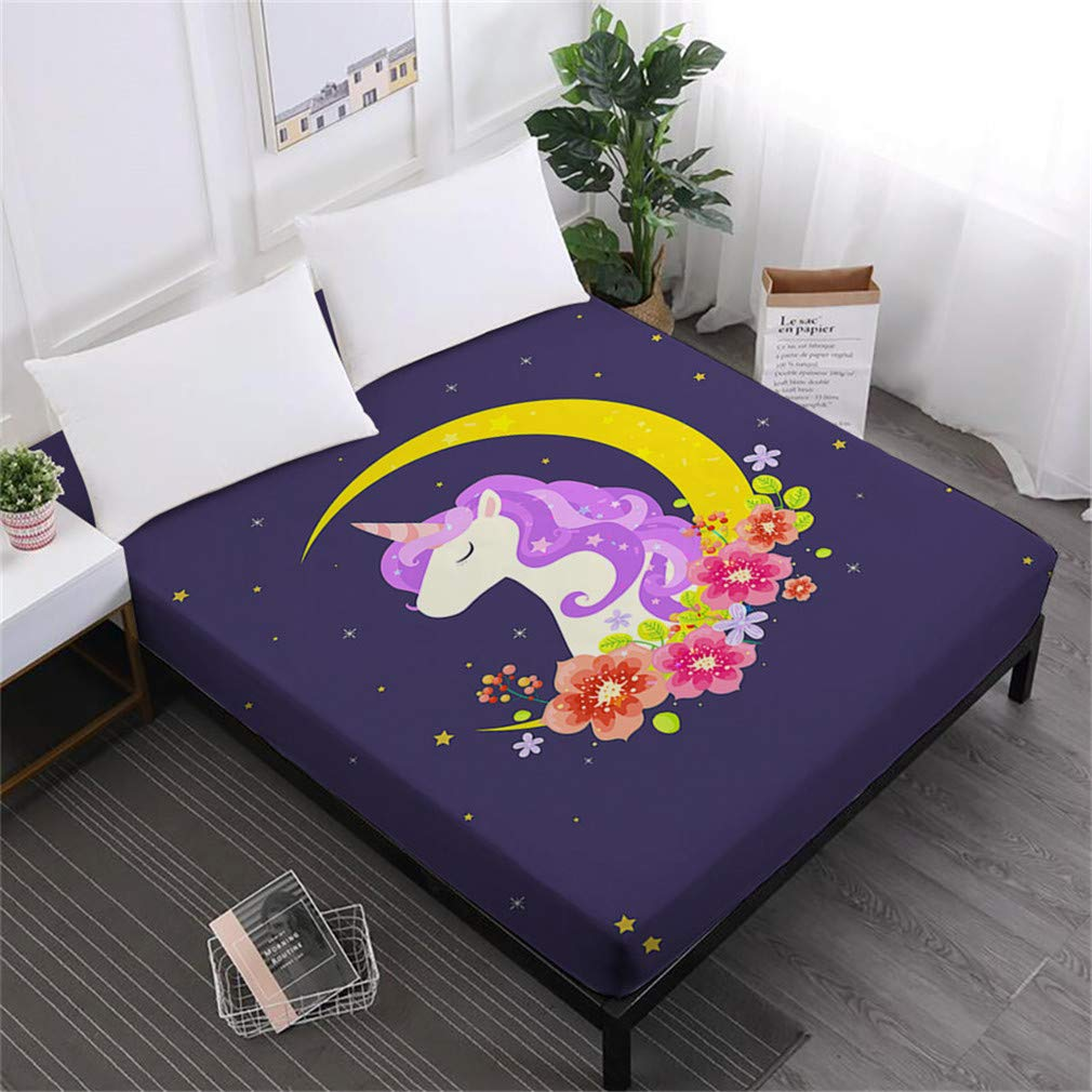 Unicorn Series Bed Sheets Cute Cartoon Print Fitted Sheet Girls Kids Sweet Sheets 100% Polyester Mattress Cover Home Decor DCL-AS63 Queen