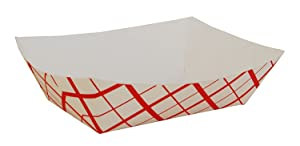 Southern Champion 0425 #300 3 lb. Red Check Paper Food Tray - 500 Ct, (2 in a case), 48 Ounce