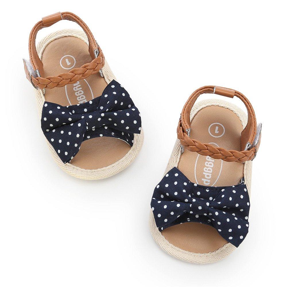 POIUDE Chaussures de B/éb/é Chaussures B/éb/é Fille Cuir Souple Bowknot Ete Sandales Chaussures Premiers Pas Pour B/éb/é Fille 0-18 Mois