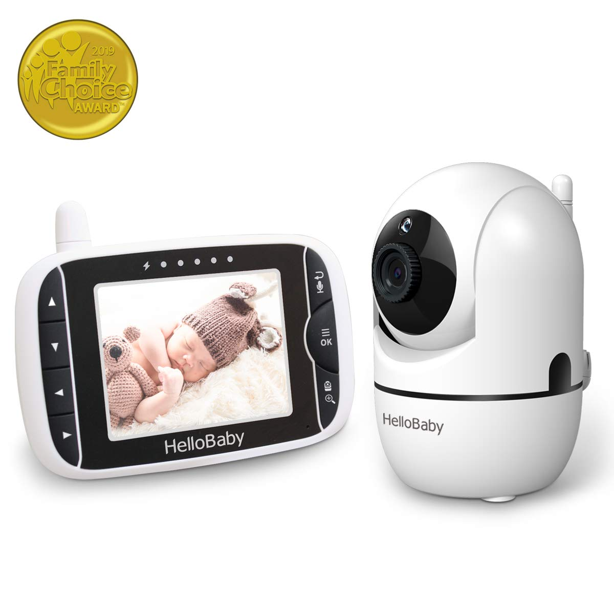 """Baby Monitor with Remote Pan-Tilt-Zoom Camera and 3.2"""" LCD Screen, Infrared Night Vision, Temperature Display, Lullaby, Two Way Audio, with Wall Mount Kit"""