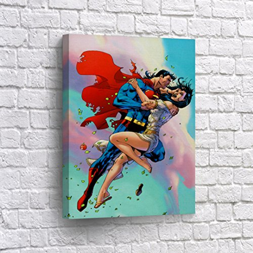 Buy4Wall Superman and Lois Lane Flying Up in Pink Clouds Sky Wall Art Canvas Print Fictional Couples Super Hero Home Decor Decoration Stretched and Ready to Hang -%100 Hanmade in The USA - 12x8 -