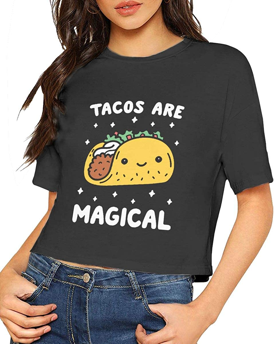 Seuriamin Tacos are Magical Women Simple Short Sleeve Leak Navel Crew Neck T-Shirts