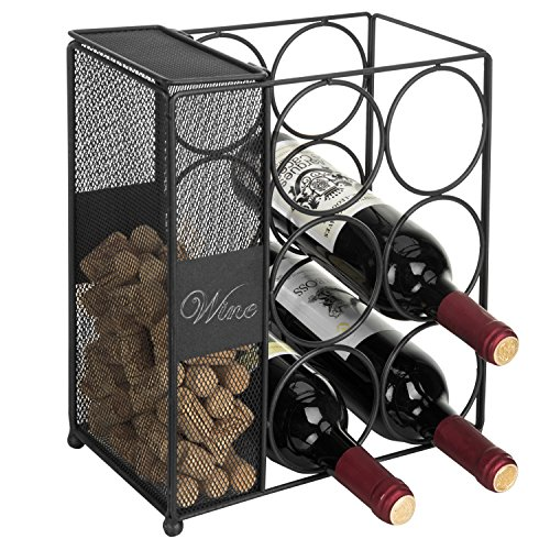 MyGift 6-Bottle Black Wire Wine Rack with Mesh Cork Basket & Chalkboard Labels