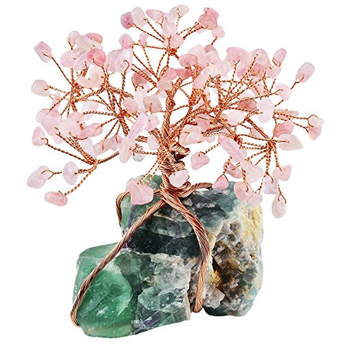 z Crystal Feng Shui Money Tree with Fluorite Cluster Base Decoration for Wealth and Luck ()