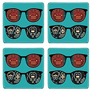 Liili Square Coasters Non-Slip Natural Rubber Desk Pads IMAGE ID: 15607205 Retro sunglasses with robots reflection in it