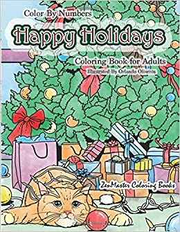 Amazoncom Color By Numbers Happy Holidays Coloring Book for