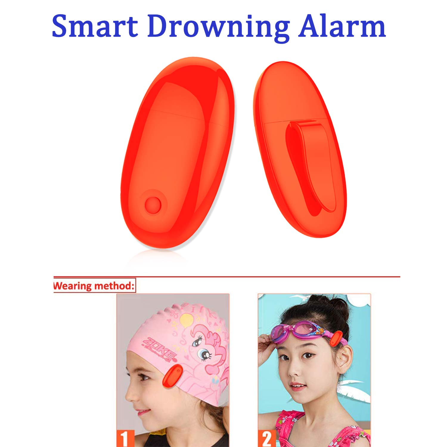 ABREMOE Drowning Alarm Pool Safety Alarm for kid Wireless Smart Water Sensor Alarm with Red Light Indicator,Clip on Swimming Cap or Goggles Bandage Child Safety Drowning Protection for Pools by ABREMOE