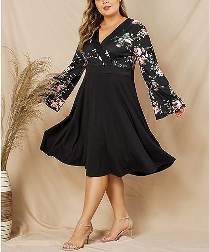 Balabala - Vestido para mujer con estampado floral medio, escote ...