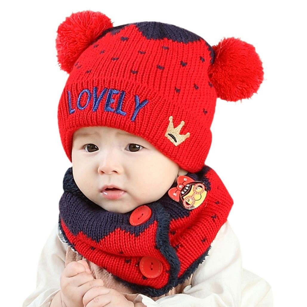 Perman Baby Girls Boys Winter Hat Scarf Earflap Hood Scarves Skull Caps PM-919