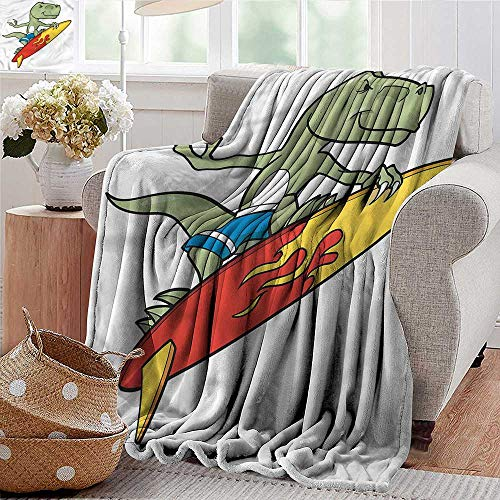 Xaviera Doherty Ultra Soft Flannel Blanket Reptile,Funny Surfing T-rex in Sea Lightweight Microfiber,All Season for Couch or Bed 30