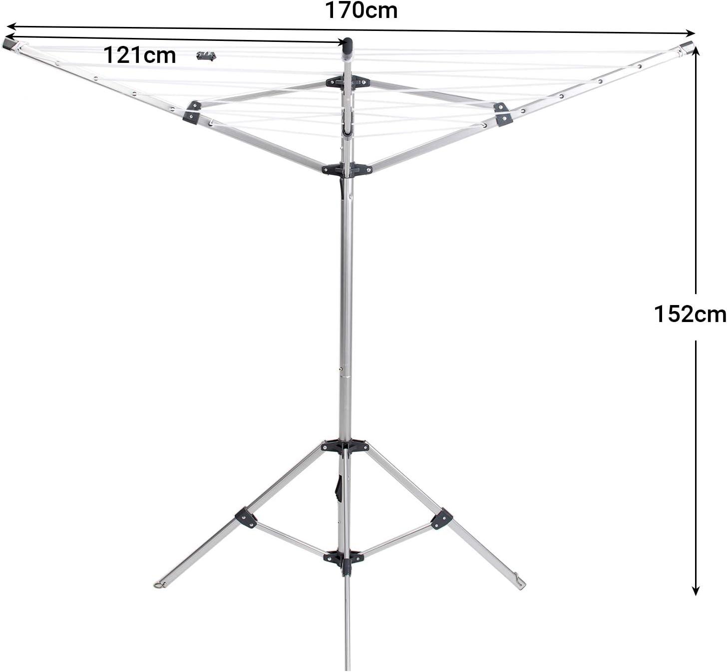 Klappbar Mobiler Duomatic W/äscheschirm mit Standfu/ß f/ür Balkon Camping Garten Drynatural Stand W/äschespinne 20m W/äscheleine