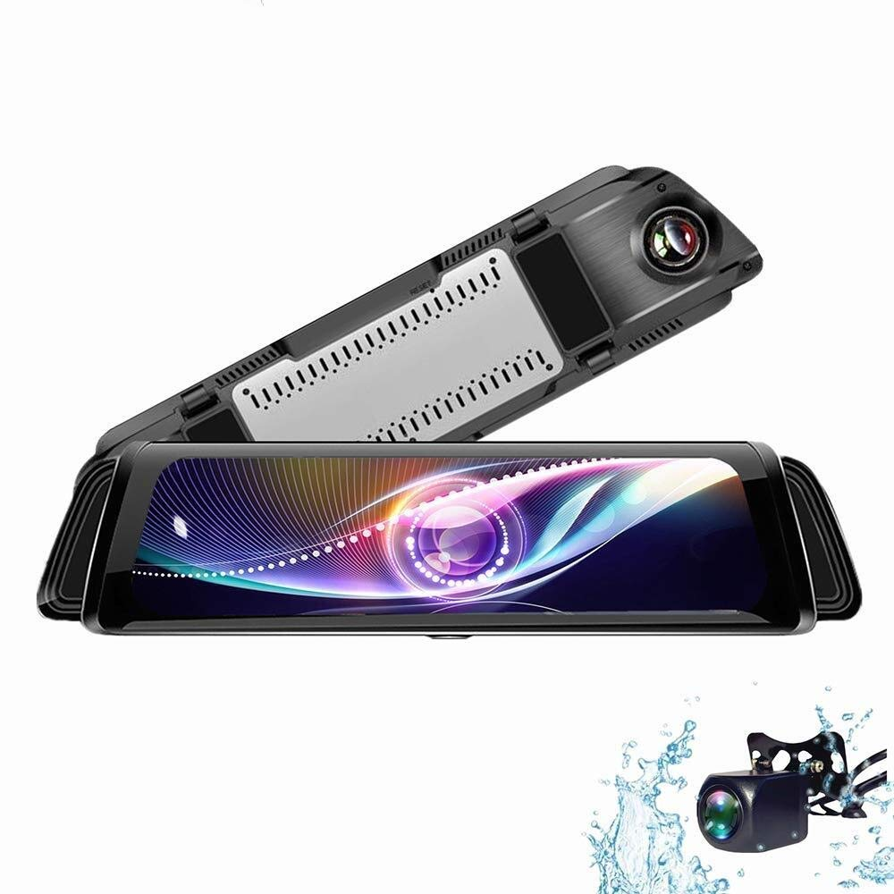 CHEZAI Mirror Dash Cam 10 Inch Streaming Media 1080P Touch Screen, 170° Wide Angle Front Car Camera Video Recorder and Waterproof Rear Camera by SPRIS