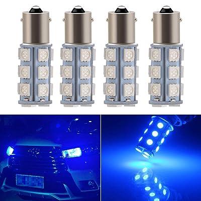 EverBright Blue 1156 Led Bulb, BA15S 1141 1073 7506 Base LED Replacement Bulb for RV Camper SUV MPV Car Turn Signal Bulb Brake Light Bulb Backup Light Lamp 18SMD 5050Chips DC-12V, Pack of 4: Automotive