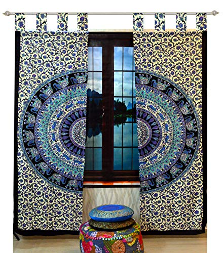 Indian Tab top Curtain Mandala Curtains, Include 2 Panel Set Mandala Curtain, Tapestry, Drapes & Valances, Window Treatment Curtain