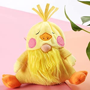 EDLDECCO Easter Chick Gnome Stuffers Spring Chicken Nisse Figurine Plush Swedish Nordic Tomte Scandinavian Elf Gifts Home Decor Ornaments (Yellow Chick)