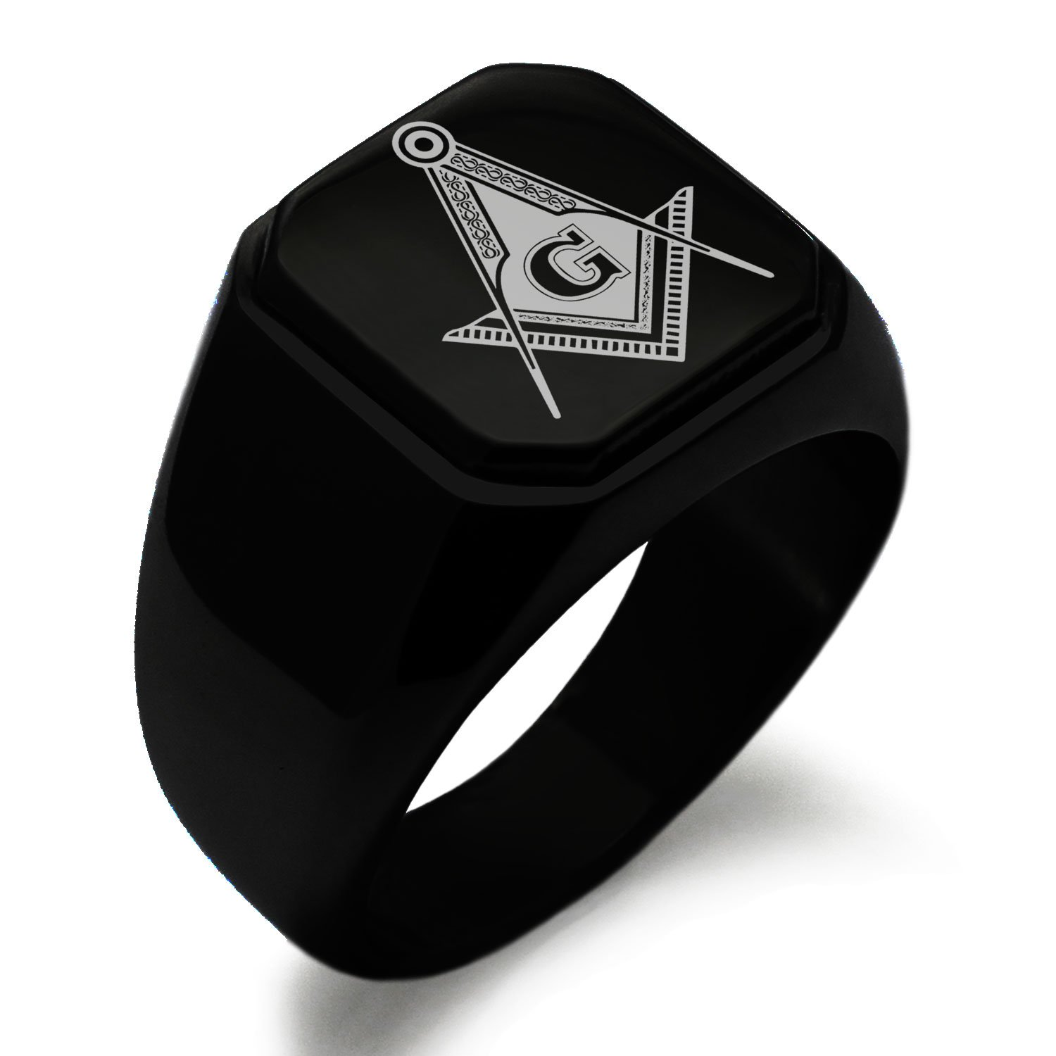 Black IP Plated Stainless Steel Freemasons Masonic Royal Compass Symbol Engraved Square Flat Top Biker Style Polished Ring, Size 9