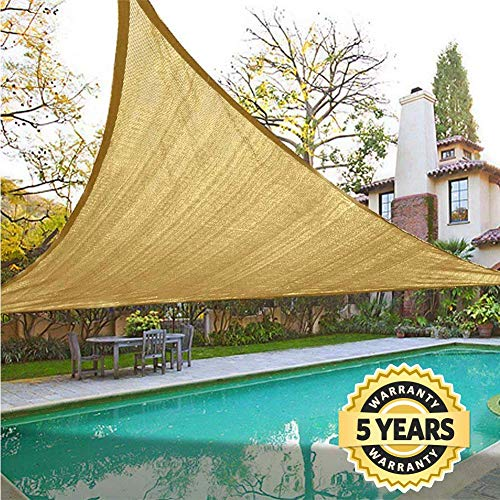 Quictent 18 x 18 x 18 ft Triangle 185GSM Sun Shade Sail Canopy 98 UV-Blocked for Patio Outdoor Activities Sand