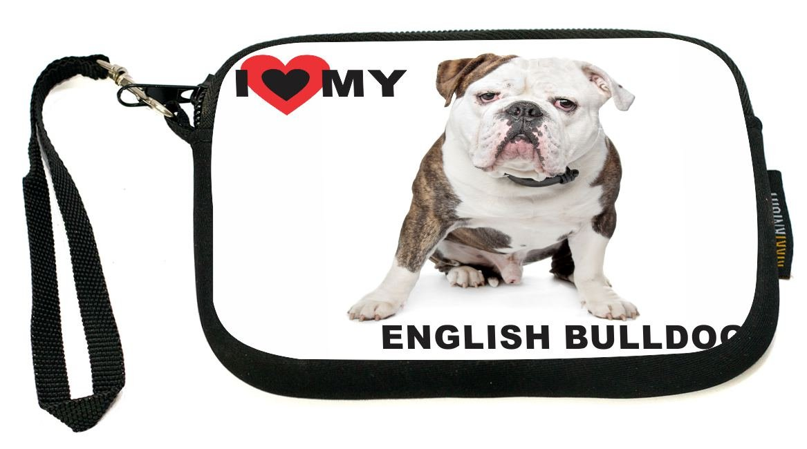 UKBK I Love My English Bulldog Brown Color Neoprene Clutch Wristlet with Safety Closure - Ideal case for Camera, Universal Cell Phone Case etc.