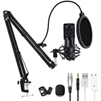 Computer Microphone, Gaming Mic with Adjustable Boom Arm Stand, USB PC Microphone for Video Recording Studio Streaming…