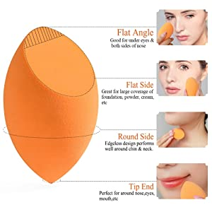 BEAKEY 4? Makeup Sponges & Contour Brush, Latex-free, Professional Beauty Blending Sponge for Dry or Wet Use, Multi-Colored