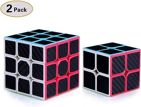 TOYESS Speed Cube Set Cubo de Velocidad 3x3 Stickerless+Cubo Mágico 2x2, Rompecabezas Puzzle Juguetes para Adulto & Niños,Fibra de Carbon(2 Pack): Amazon.es: Juguetes y juegos