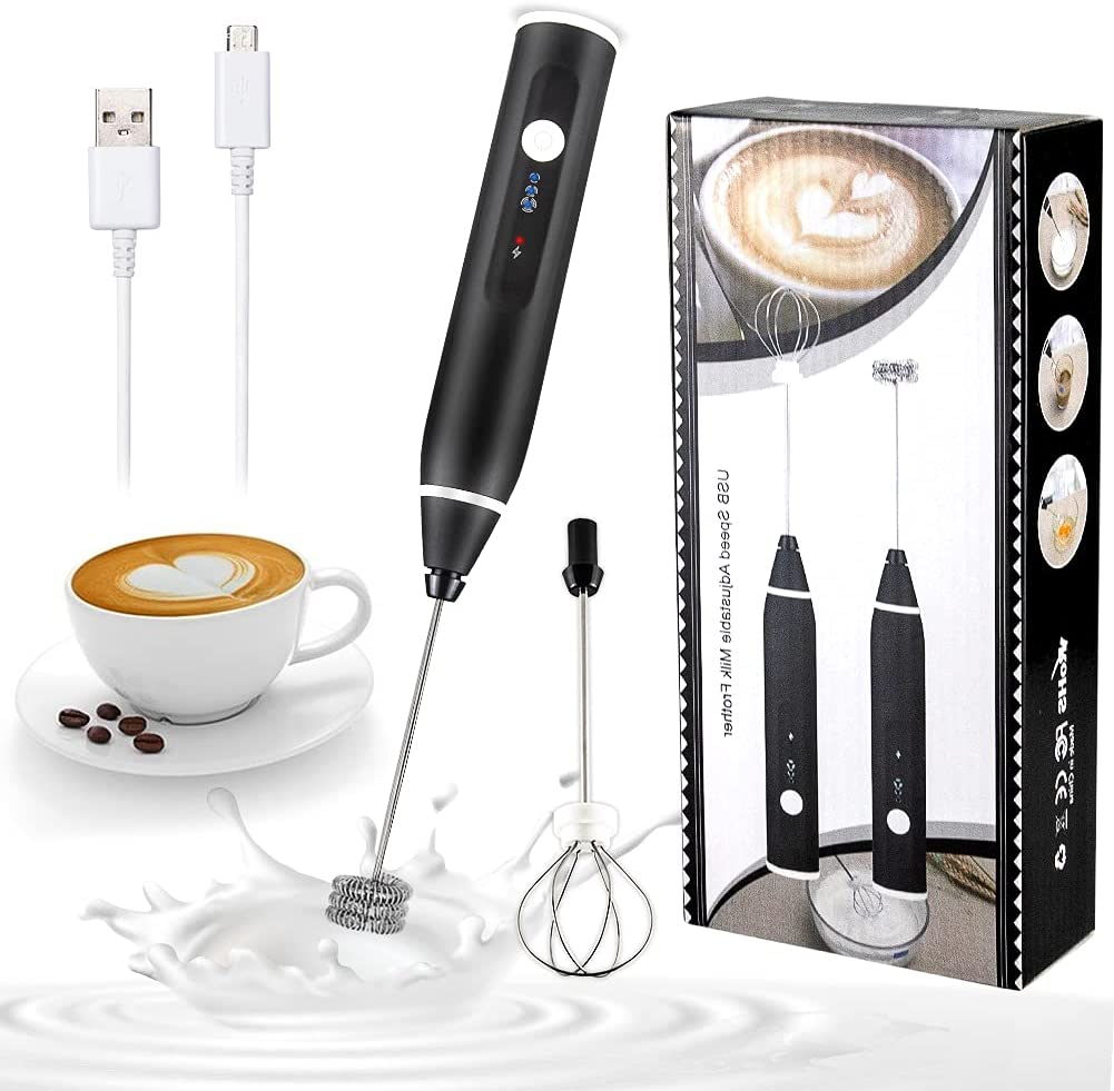 Rechargeable Electric Milk Frother Handheld Double Whisk Foam Maker Coffee Egg