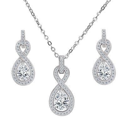 Clearine Women's 925 Sterling Silver Wedding Bridal Cubic Zirconia Infinity Teardrop Pendant Necklace Dangle Earrings Set QMuiwN