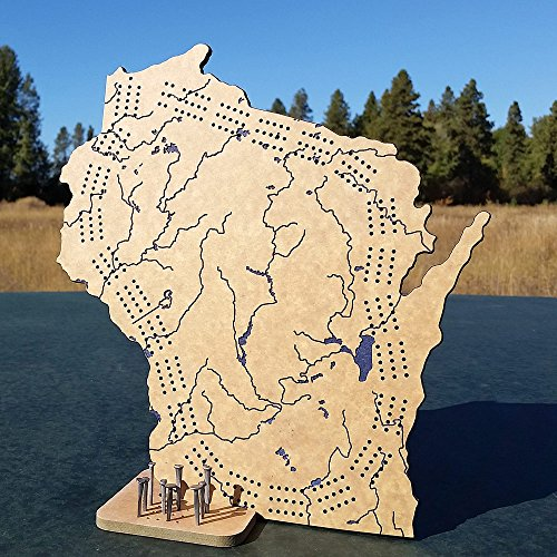 Shape Cribbage Board - Wisconsin 3 Track Cribbage Board Game Set with Engraved Topography, Rustic Nail Pegs and Stand / Counter