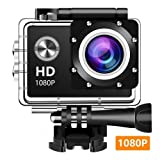 Action Camera, 12MP 1080P 2 Inch LCD Screen, Waterproof Sports Cam 140 Degree Wide Angle Lens, 30m Sport Camera DV Camcorder with 10 Accessories Kit (Black) K-1090990