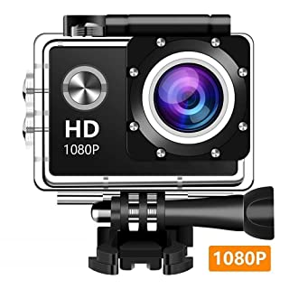 EM5000 Action Camera, Dabige 12MP 1080P 2 Inch LCD Screen, Waterproof Sports Cam 140 Degree Wide Angle Lens, 30m Sport Camera DV Camcorder with 10 Accessories Kit (Black) (EM5000)