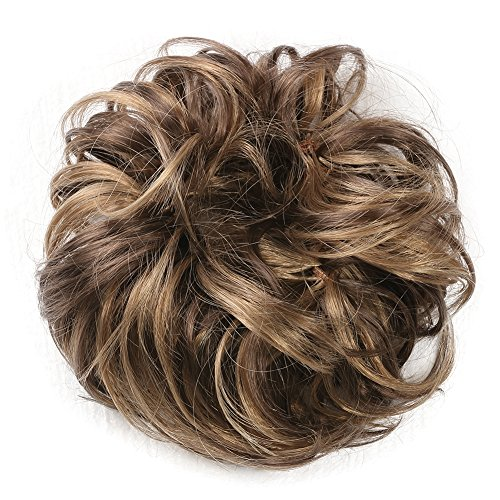 MERRYLIGHT Hair Extensions Ponytail Curly Hairpiece Scrunchie (Yellow Brown-T12/24)