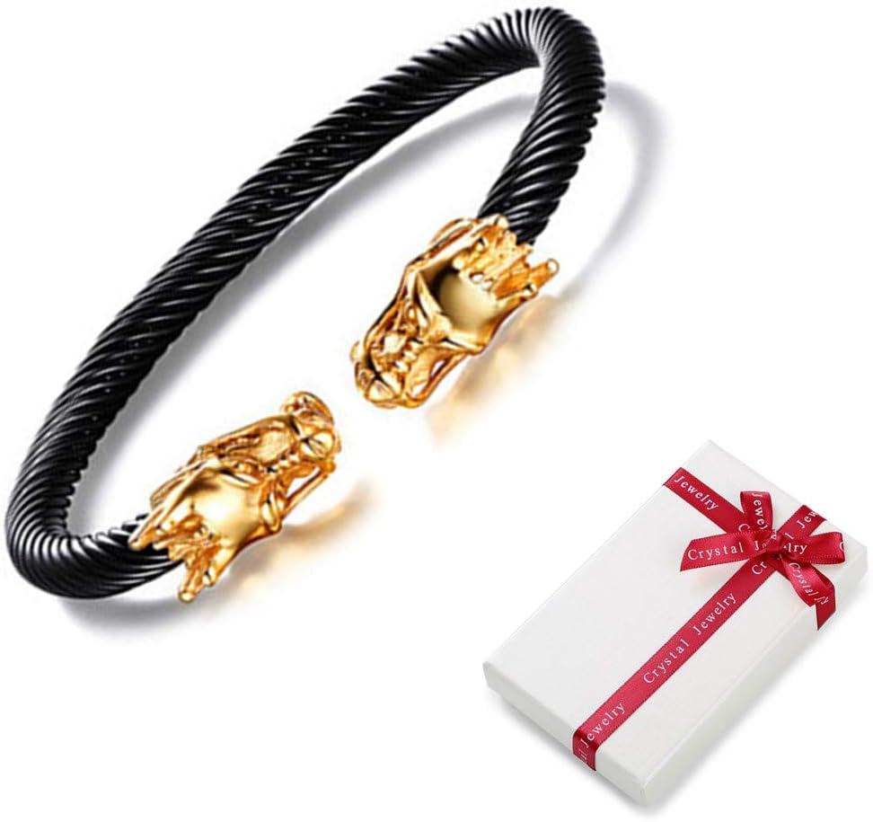 Bracelet pour homme Bracelet jonc /élastique r/églable Bracelet Viking Punk Dragon Bracelet pour homme Bracelet en acier torsad/é en acier inoxydable vers la t/ête de dragon