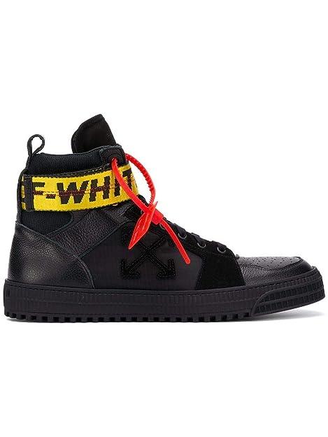 Off-White Hombre OMIA102R198000011010 Negro Cuero Zapatillas Altas: Amazon.es: Zapatos y complementos