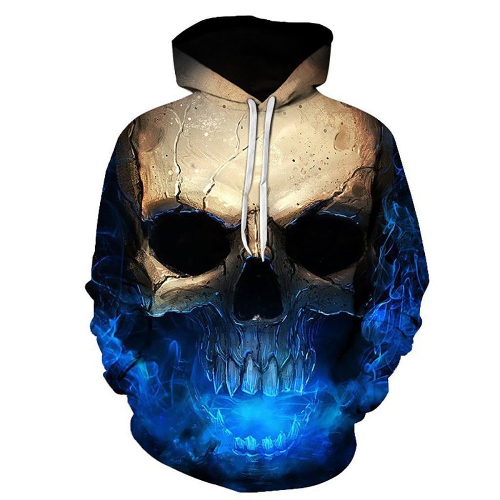 Sinzelimin Unisex Cool 3D Printed Skull Pullover Lightweight Long Sleeve Hooded Sweatshirt Tops Blouse Motorcycle Jacket (Blue, XL)