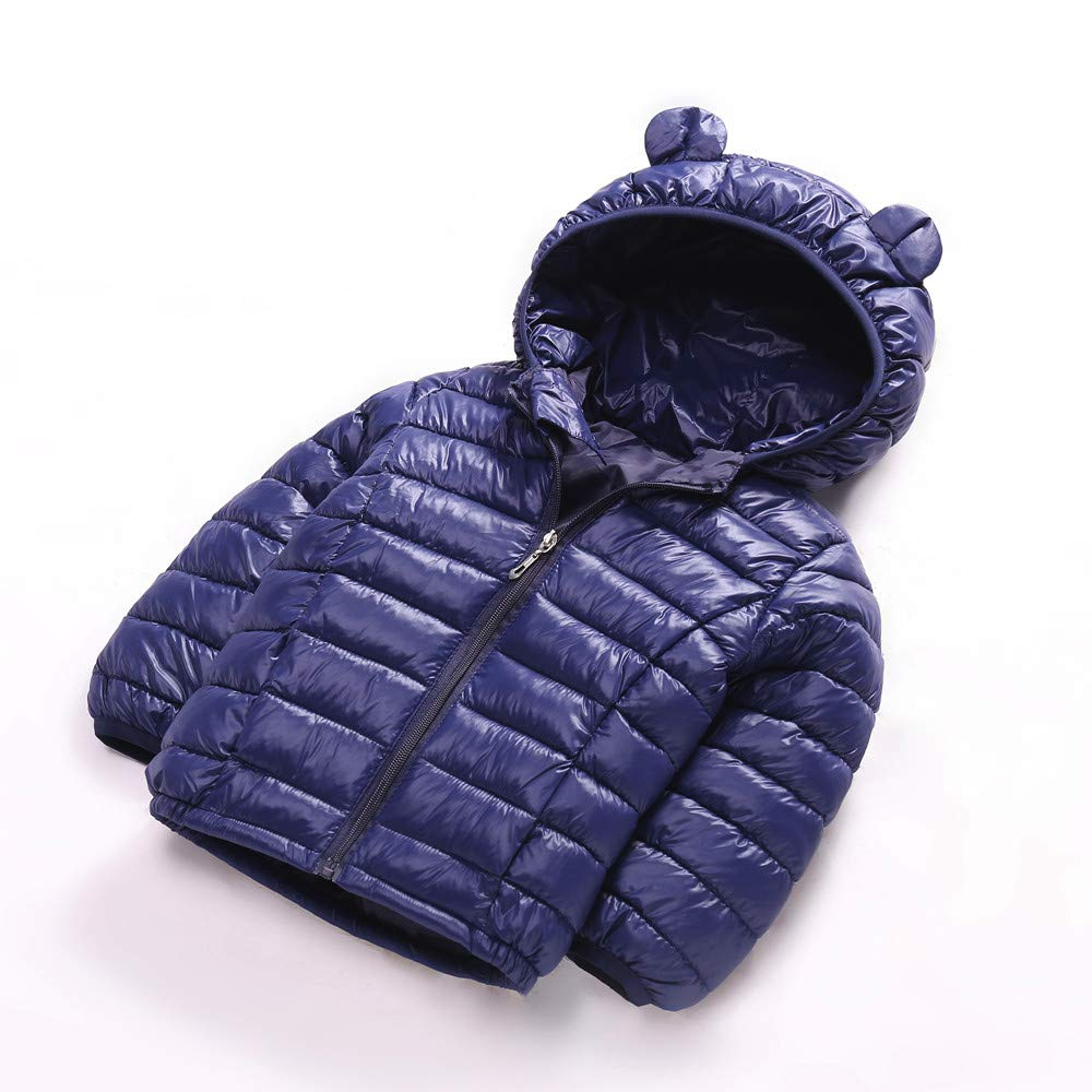 Kids Baby Girls Boys Classic Bubble Jacket Down/ Coat Down Jacket Solid Hooded Packable Down Warm Snowsuit