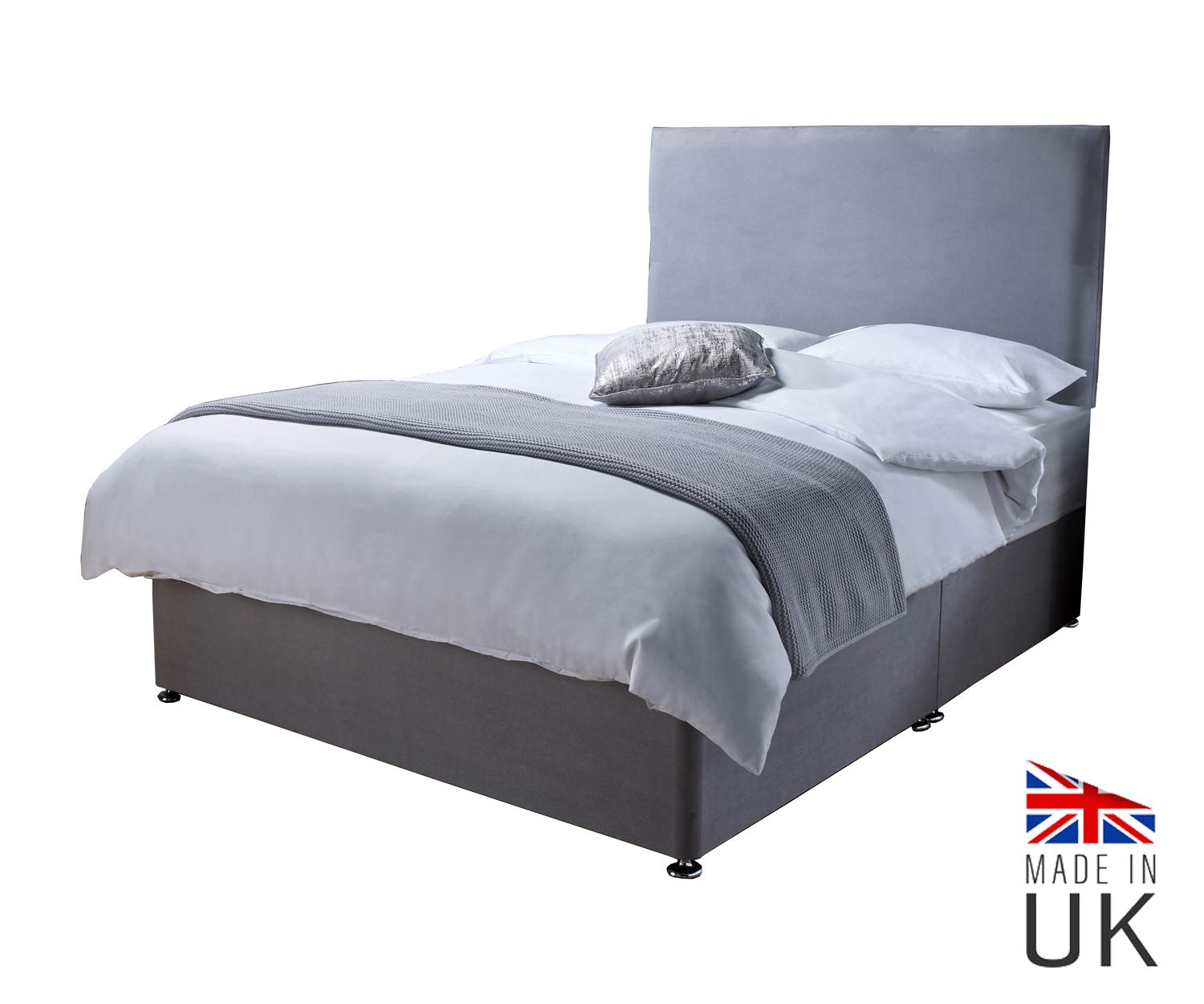 3ft Single 2 Drawers Revive Direct Double Bed in Grey with Plush Mattress Bed with Breathable Fabric Cover Lightweight Bed Premium Quality Double Bed with Mattress and Upholstered Headboard